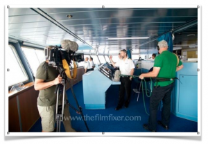 Filming behind the scenes - on the Azamara Bridge - the control centre of the ship
