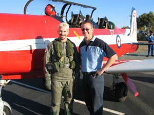 Terry Gordon introduces AFL star Jason Akermanis, to the RAAF Roulette PC-9 aircraft